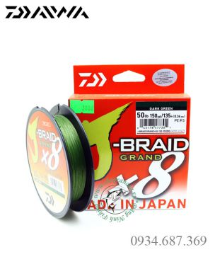 Dây PE Daiwa J-Braid Grand x8 - Made in Japan - cuộn xanh rêu 135m